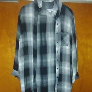 Black plaid button up shirt